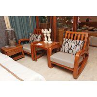 先驱家居--兰亭中式实木单人沙发椅 时尚休闲布艺沙发 休闲椅