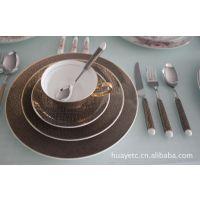 供应陶瓷餐盘 简约黑格子金边西餐盘子 酒店骨瓷西式餐具套装