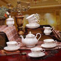 景德镇15头骨瓷咖啡具套装 英式茶具 咖啡杯壶碟套装  金碧辉煌
