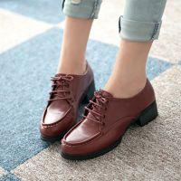 春秋新款 休闲女鞋 圆头鞋子 低跟外增高 坡跟单鞋 温州鞋厂