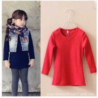 2014秋季新款 韩版女童宝宝纯色加长款修身打底衫