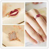 R058 韩国明星新款佩戴时尚个性甜美红唇 幸运四叶草戒指指环