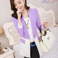 2014新款韩版中长款小西装 长袖百搭修身小西服外套