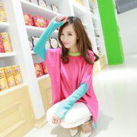 2014秋新款 韩版女装长袖糖果色宽松圆领中长款针织打底衫