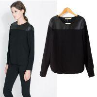 2013秋冬新款女装欧美现货拼皮圆领 黑色打底衫 短款T恤长袖上衣