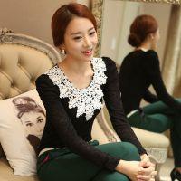 新品现货 秋装新款韩版女装修身蕾丝打底衫大码上衣