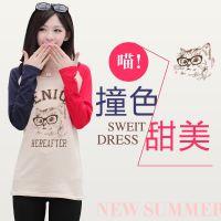 2014秋装新款日系原单可爱动物贴布长袖打底衫 T恤女