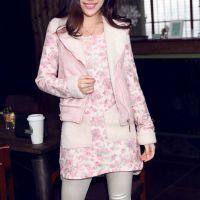 8869#新款韩版羊羔绒马甲针织碎花连衣裙两件套