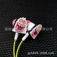 供应亚玛逊卡通耳机 PVC滴胶公仔 怪物人耳机 礼品耳机定做