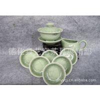 工厂直销 8头哥窑茶具 盖碗组大口杯 锦盒套装 德化陶瓷茶具