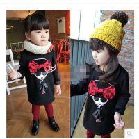 韩果儿B冬季女童装韩版中小童宝宝可爱蝴蝶结头像加绒长款卫衣