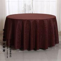 【厂家直销】酒店用品大红色勾花台布简约棉麻桌布圆桌布现货批发