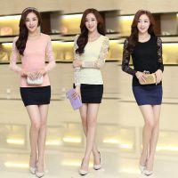 女装秋季新款韩版修身百搭t恤 蝴蝶结长袖女上衣蕾丝打底衫