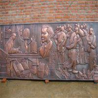 中学教育题材古铜校园浮雕雕塑墙 玻璃钢校园文化广场师生浮雕壁画