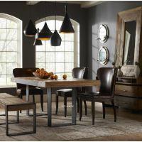 美式家具餐厅实木餐桌椅组合长方形 原木复古铁艺木d