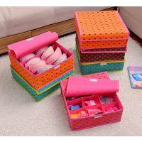 家居多彩美人心多格有盖内衣收纳盒 文胸袜子收纳盒整理盒Y218