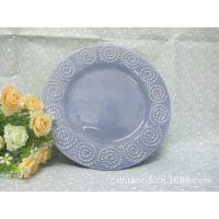 批发库存餐具、蓝色小盘、点点圆圈浮雕盘、精美浮雕、外贸尾单