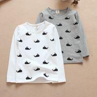 2014秋季新款 韩版童装 儿童T恤衫 男童鲸鱼卡通满印长袖打底衫JH
