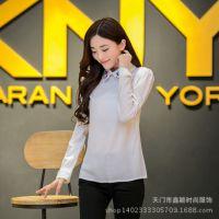 2014秋季新款韩版长袖雪纺衫女装娃娃领上衣修身显瘦小衫打底衫