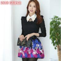 韩国实拍 2014秋装新款女装韩版 蕾丝钉珠修身打底衫