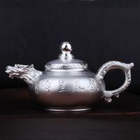手工雕刻银壶纯银茶壶煮水壶-日式仿古S999千足银兽口烧水壶