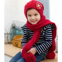 韩版秋冬K字卡通儿童 宝宝K字针织帽护耳帽 毛线帽围巾套帽批发