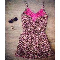外贸 ebay速卖通新品 欧美外贸原单性感吊带红色花边领豹纹连衣裙