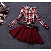 2014秋冬新款时尚欧美风格子修身长袖套装连衣裙(配皮带)