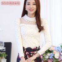 厂家直销新款韩版秋冬女装 加绒加厚打底衫代理 女蕾丝打底衫批发
