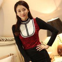 2014秋季新款高领蕾丝拼接拼色打底衫女长袖T恤衫显瘦蕾丝衫