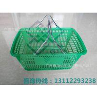 PZD-13超市购物篮 拉杆购物篮 塑料篮 手提购物篮 四轮拉杆购物篮