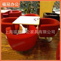 【上海福冠办公家具】时尚休闲布艺沙发可定制 红色韩皮 包邮