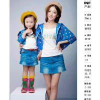 2014新款品牌亲子装 母女装披肩外套韩版休闲秋款 网络服装招兼职