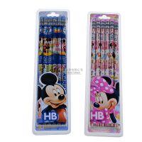 迪士尼系列 铅笔 橡皮 批发 12支吸塑装木杆铅笔 儿童 写字笔6121