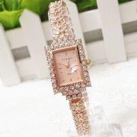 厂家供应 手表女韩版时尚潮流 玫瑰金方形表头满钻 高档时装表
