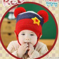 2014秋冬新款 双球五角星儿童毛线帽 宝宝单帽 套头帽子