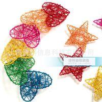 幼儿园室内环境布置 竹藤装饰吊饰 多彩五角星形挂饰