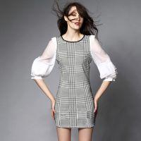 欧美女装代销批发 服装免费代理加盟 千鸟格洲站大牌中袖连衣裙
