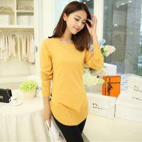 2014秋装新款韩版针织衫女 中长款长袖纯色套头打底衫