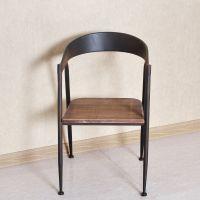 美式乡村家具实木餐椅复古做旧铁艺实木酒吧椅实木家具餐厅椅子