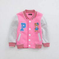 15新款女童春款棒球服 纯棉小熊刺绣外套 韩版拼接袖儿童外套2.01