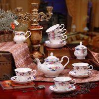 欧式骨瓷咖啡杯碟下午红茶具套装 高档英式皇室玫瑰陶瓷咖啡具