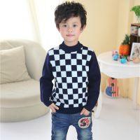 秋冬新款男童装毛衣 加厚羊绒衫 套头针织打底衫 方格运动小男孩