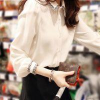 2014秋季女装新款韩版百搭娃娃领白色潮雪纺长袖上衣打底衬衫衬衣