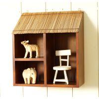 岛国风加厚实木收纳架 可挂可摆在桌子上 两用壁饰 家饰收纳