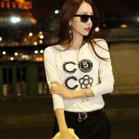 秋冬韩国代购新款女装 时尚花朵印花镶钻长袖纯棉大码打底衫T恤女