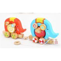 日本ED.INTER 2头大象拖拉车马戏团木制玩具趣味玩具