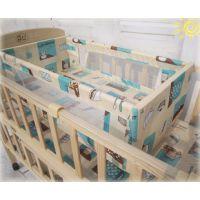 批发实木环保无漆婴儿床 双层床 带托板奶瓶架 宝宝摇床会销礼品