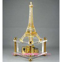 飞歌 镀金发条埃菲尔铁塔音乐盒 相片八音盒可放照片天空之城批发