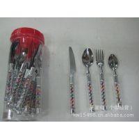 厂家直销 不锈钢KW-E05彩柄刀叉勺24PCS套装餐具套装 西餐刀